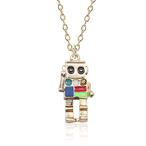 - MIXIA Anime Colorful 3D Robot Necklace Hip Hop Mechanic Charm Necklaces Gold Silver Chain Choker Jewelry for Women Men Gift 18