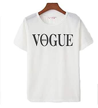 Womens Letter Printed Pullover Casual Tees T-Shirt O Neck Top White S