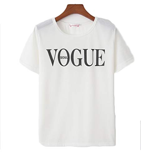 (Womens Cotton Blended Letter Printed Casual T-Shirt Top Round Neck Cute Top L)