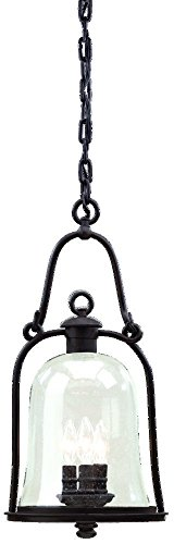 Troy Lighting Owings Mill 3-Light Outdoor Pendant - Natural Bronze Finish with Clear Seeded (Natural Bronze Mill)
