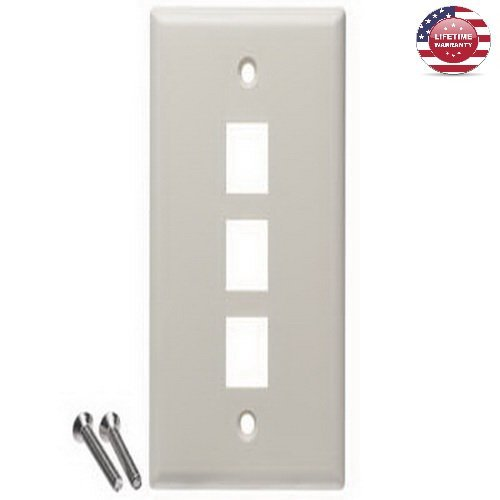 5 Pack X ICC Flat Keystone Wall Plate - Single Gang - 3 Port - Almond - By Nexiron