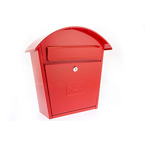 Sterling Humber Wall Mounted Galvanised Steel Lockable Weatherproof Post Box - Red - 36x37x13cm