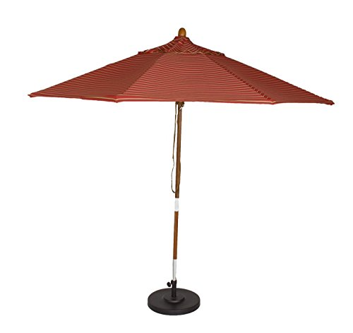 Phat Tommy 9 Ft. Marenti Wood Outdoor Market Umbrella wit...