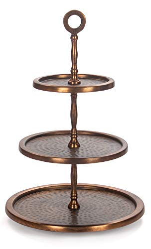 Red Fig Home 3 Tier Cupcake Stand - Aluminum With Copper Finish Round Serving Tray Platter for Parties, Weddings, Birthday, Holidays to Display Dessert Cookies Appetizers Cheese Hors D'oeuvres