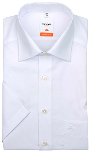 Olymp Luxor kurzarm Hemd Modern Fit - weiss, Kragenweite:39