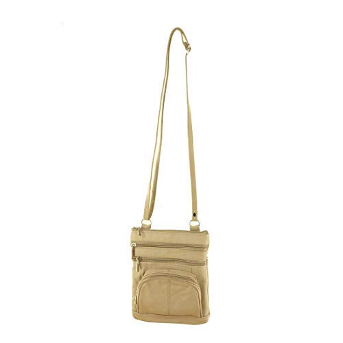 1f53dd9790fc Roma Leathers Genuine Leather Multi-Pocket Crossbody Purse Bag (Beige)