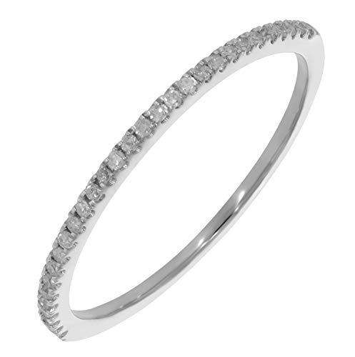 Prism Jewel 0.15 Carat Round Natural White Diamond Half Eternity Wedding band, 10k White Gold, Size 10