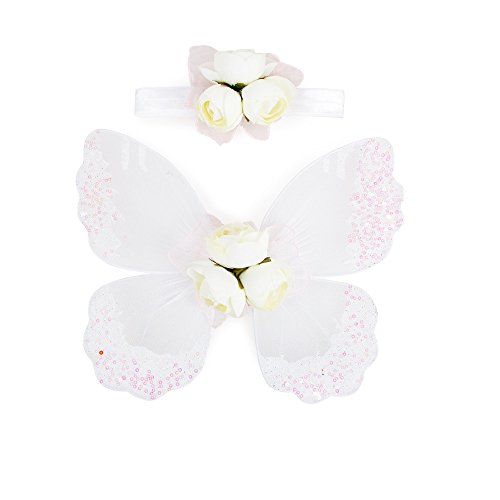 Stock Show Pet Dog Beautiful Blingbling Butterfly Wing Harness and Flower Headdress Pet Dog Princess Sweet Harness Ornament Dog Puppy Flower Bowtie Hair Accessories for Small Medium Dogs, -