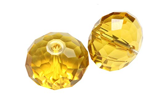 50 6mm Adabele Austrian Rondelle Crystal Beads Amber Yellow Rondelle Spacer Compatible with 5040 Swarovski Crystals Preciosa SS1R-607