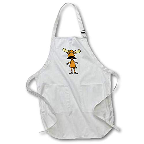 3dRose All Smiles Art - Funny - Cool Funny Moose with Mustache Cartoon - Black Full Length Apron with Pockets 22w x 30l (apr_315277_4) ()