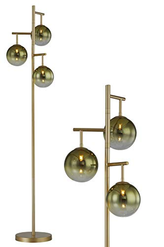 WOXXX Industrial Floor Lamp for Living Room, Gold Tree Floor Lamp with 3 Elegant Glass Lamp Head & G9 LED Bulbs Included…