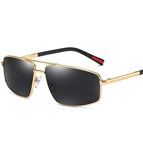 Cool Rectangular Aviator Polarized Sunglasses for Men Square Metal Frame Driving (Gold Frame Black Lenses, 62)