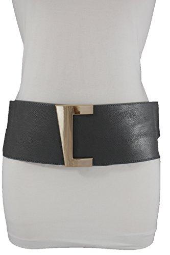 TFJ Women Elastic Fashion Corset Wide Belt Hip Waist Gold Buckle Plus M L XL - Gold Big Belt
