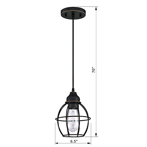 WISBEAM Pendant Lighting Fixture with Oil Rubbed Bronze Finish, Hanging Lights with One Medium Base Max. 60 Watts, ETL Rated, 2-Pack