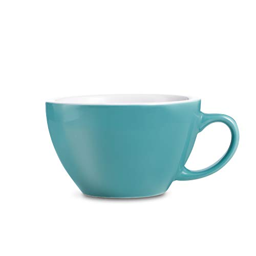 LOVERAMICS Egg Style Cafe Latte Cup and Saucer, 300ml (10 oz) (Teal, 2)