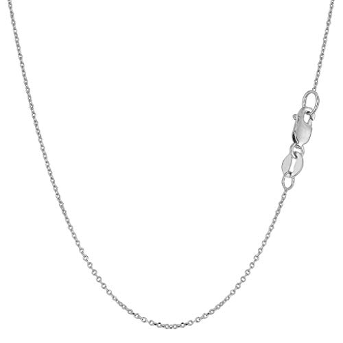 (14K Yellow or White Gold 1.2mm Shiny Diamond-Cut Round Cable Link Chain Necklace for Pendants and Charms with Lobster-Claw Clasp (16