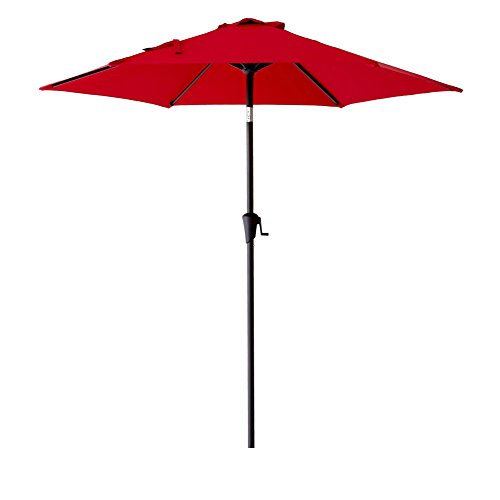 FLAME SHADE 7ft 6in Market Patio Outdoor Parasol Umbrella Crank Lift Push Button Tilt Red