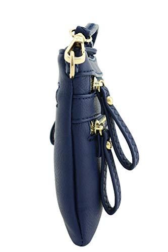 Crossbody Wristlet Bag Pocket Navy Small Multi Zipper qwxIn4x7T