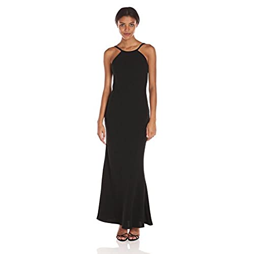 Calvin Klein Womens Halter Neck Crepe Gown with Low Back, Black, 6