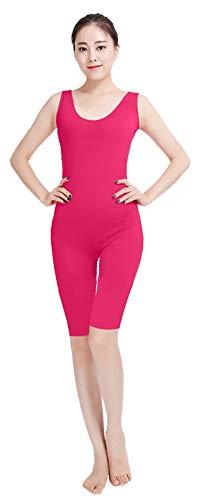 ONCEFIRST Women's Spandex Sleeveless Bodysuit Unitard Costume Zip Back Fuchsia M