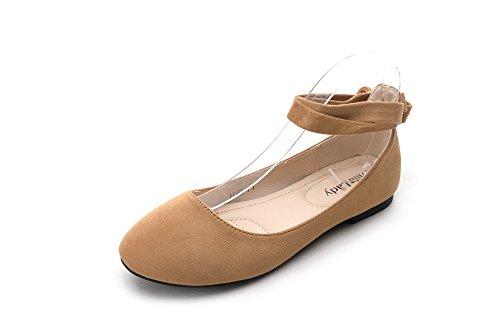 Mila Lady Agnes-1 Traforato Cinturino Alla Caviglia Avvolgente Ballerlina Chic Scarpe Scarpe Cammello