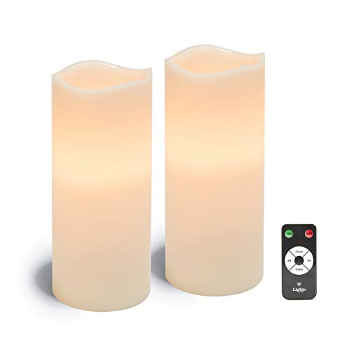 Large Flameless Pillar Candles - White Wax 4 x 10 Inch Candle Set, 2 Pack, Melted Edge, Warm White LED Light - Batteries & Remote Included
