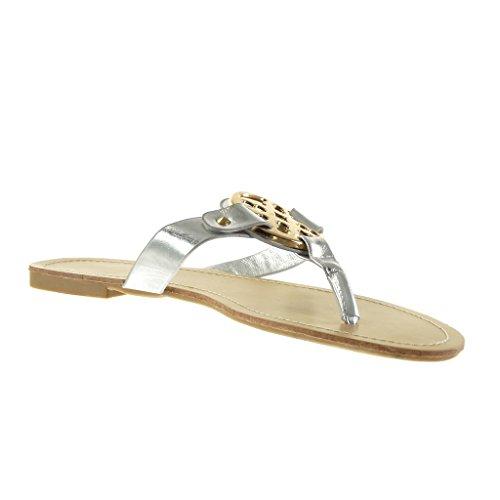 Angkorly Damen Schuhe Sandalen - Schleife - Golden Blockabsatz 1 cm Silber