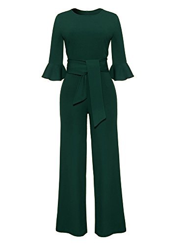 Ladies Elegant 3/4 Sleeve High Waisted Bootcut Pants Party Evening Jumpsuit L Green ()