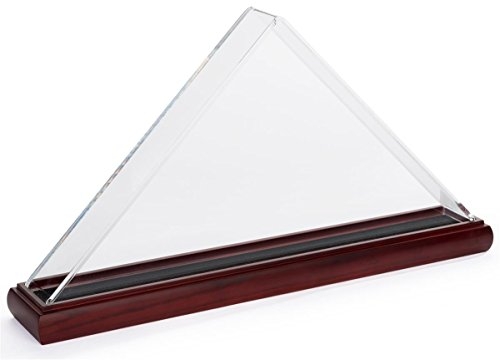 Triangular Display - Displays2go Wood and Acrylic Flag Display Case for 5' x 8' Banners – Mahogany (FC595ACMA)