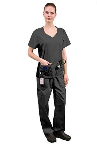 Womens V-neck Lab Jacket (Women's Super Stretch Medical Scrubs Set SCR44807 DARK GREY)