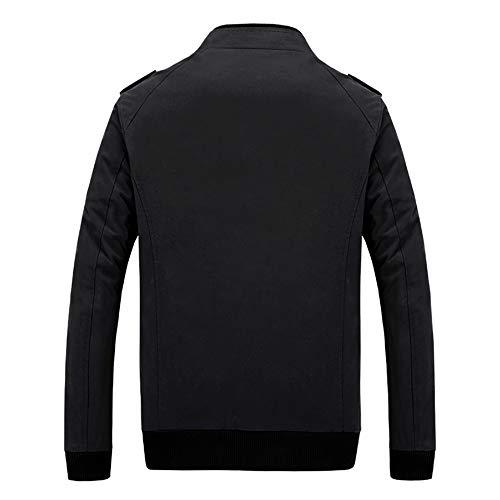 Noir Chaude Subfamily Zippée Manteau Trench Homme Casual Veste Slim Chaud Coat Jacket Blouson Bomber vent Outwear Délavé Fit Coupe Uwf5q