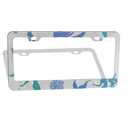 (Silhouettes Mermaid Starfish Coral Reef License Plate Frame Cover 2-Pack Premium Quality Novelty Metal Aluminum Custom License Plate 2 Holes for Cars Womens 12