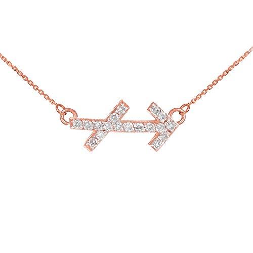 Collier Femme Pendentif 14 ct Or Rose Sagittaire Signe Du Zodiaque Diamant (Livré avec une 45cm Chaîne)