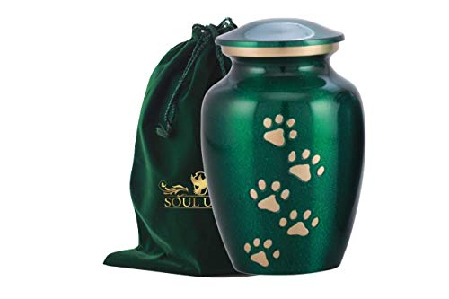 - SOULURNS - Green Pet Urn with Vertical Brass Paw for Dogs Ashes and Cats - Quality Urn for Dog or Cat - 6 Inch Tall Holds Remains Upto 40 Lbs - Include Velvet Bag