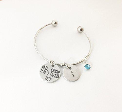 [Semicolon Bracelet Semicolon Jewelry Suicide Aware Awareness Semicolon Project Mental Health Awareness Bipolar Depression bracelet cuff] (But Mommy Costumes)