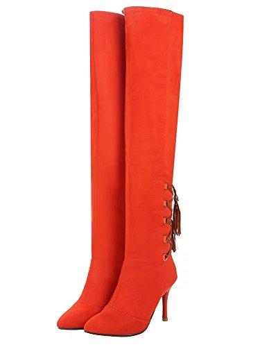 AIYOUMEI Damen Spitz Stiletto High Heels Stretch Overknee Stiefel Langschaft Stiefel mit Schnürsenkel Orange