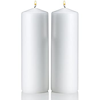White Pillar Candles   Set Of 2 Unscented Candles   9 Inch Tall, 3 Inch  Thick   90 Hour Clean Burn Time