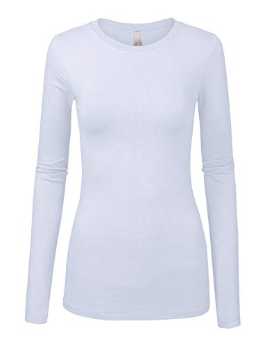 Long Top Sleeve Juniors (Womens Basic White Colors Slim Fit Long Sleeve Round Neck Top (1100-WHITE-M))