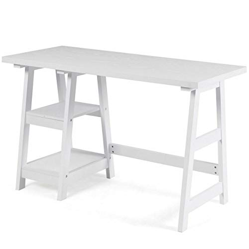 White Trestle Computer Desk Modern Writing Laptop Table W/2 Open Tiers Shelves(U.S. Stock)