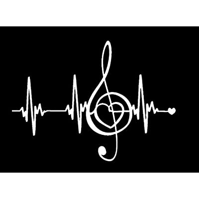 Music Makes My Heart Beat NOK Decal Vinyl Sticker |Cars Trucks Vans Walls Laptop|White|7.5 x 5.5 in|NOK148: Kitchen & Dining