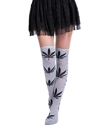 Womens Girls Long Over Knee Thigh High Socks Marijuana Weed Leaf Funny Crazy School Party Cosplay Custume Stockings, Grey+Black Marijuana Leaf, Ladies' one size(6-11)