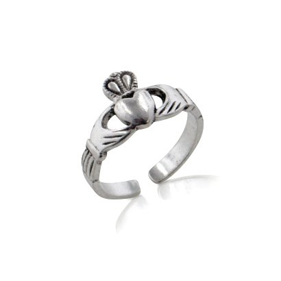 Sterling Silver Celtic Claddagh Toe Ring for Love, Loyalty, and Friendship ()
