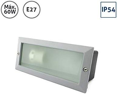 Baliza rectangular aluminio plata con cristal mateado 60W E27: Amazon.es: Iluminación