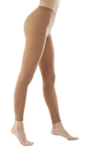 (Women's 80Denier Semi Opaque Solid Color Footless Pantyhose Tights 2pair or 6pair (M/L, Suntan))