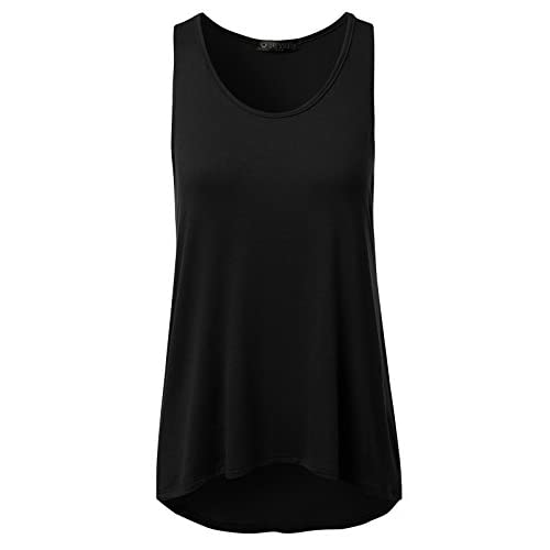 New DRESSIS Womens Sleeveless Round Neck Hi-Lo Loose Fit Flared Tank Top free shipping