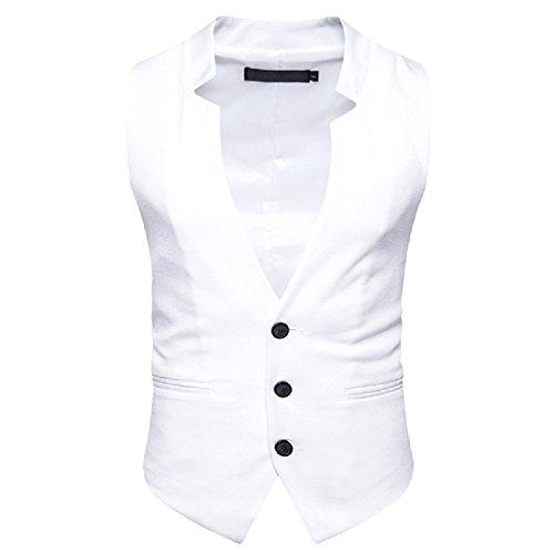 White Leisure Suit (xiaokong Men's Solid Color Blazer Casual Leisure Slim Suit Dress Vests White XL)