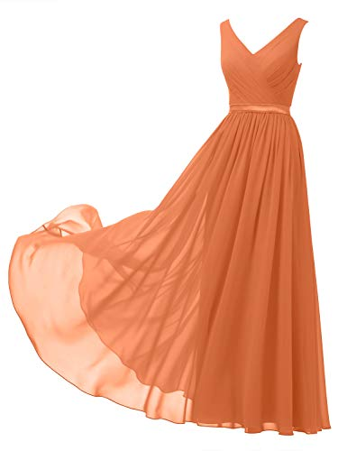 Alicepub V-Neck Chiffon Plus Size Bridesmaid Dress Long Formal Gown Party Evening Dress Sleeveless, Orange, US22
