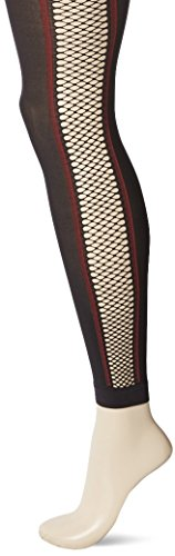 HUE Women's Fishnet Stripe Footless Tights, black, S/M