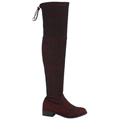 Beston Fd97 Mujeres Elástico Sobre La Rodilla Block Heel Dress Bota Half Size Small Burgundy Glitter