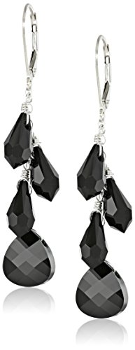 Sterling Silver Swarovski Elements Jet Colored Multi-Teardrop and Briolette Earrings